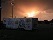 38ft moving trailer at the office during sun set